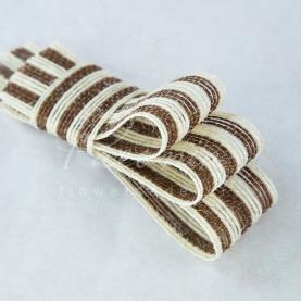 Стрічка з мішковини в широку смужку коричнева 3см*14м