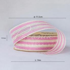 Лента из мешковины в широкую полоску розовая 3см*14м