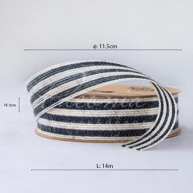 Лента из мешковины в широкую полоску черная 3см*14м