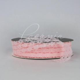 Стрічка мереживна з квітковим принтом ніжно-рожева 3см*32м