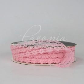 Стрічка мереживна з квітковим принтом рожева 3см*32м