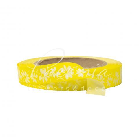 Лента полипропиленовая желтая в цветочек 2см*50м