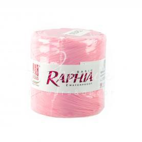 Лента рафия светло-розовая (200м)