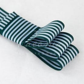 Стрічка Флористична 3см*23м репсова смужка зелений