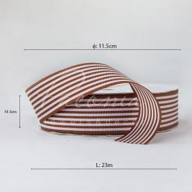 Лента репсовая в полоску коричневая 3см*23м