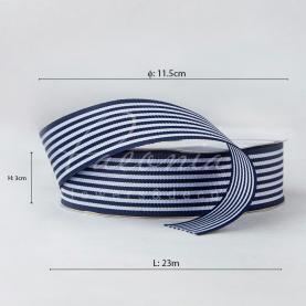 Стрічка Флористична 3см*23м репсова смужка синя