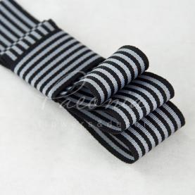 Лента репсовая в полоску черная 3см*23м
