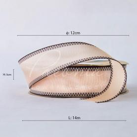 Стрічка Флористична 3см*14м репсова з кантом кремовий