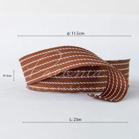 Стрічка Флористична 3см*23м репсова з смужкою-рядком коричневий