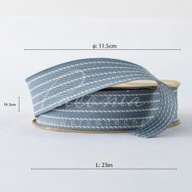 Стрічка Флористична 3см*23м репсова з смужкою-рядком сірий