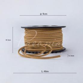 Стрічка флористична замшева тонка кавова 3мм * 46м