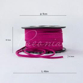 Стрічка флористична замшева тонка малинова 3мм * 46м