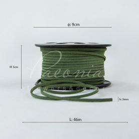 Стрічка Флористична 3мм*46м тонка замшева оливковий
