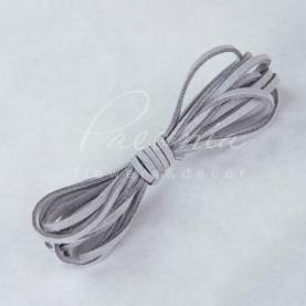 Стрічка флористична замшева тонка світло-сіра 3мм * 46м