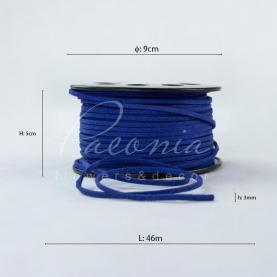 Лента флористическая замшевая тонкая темно-синяя 3мм*46м