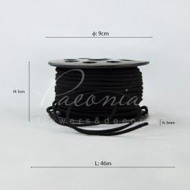 Стрічка флористична замшева тонка чорна 3мм * 46м