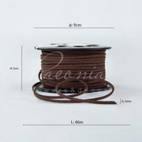 Лента флористическая 3мм*46м тонкая замшевая шоколадный