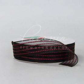 Стрічка Флористична органза 2,5см*23м з червоною рядком чорний