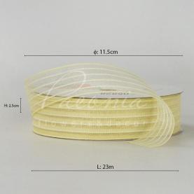 Стрічка флористична з органзи з принтом пунктир бежева 2,5 см * 23м