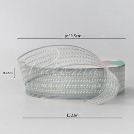 Стрічка Флористична органза 2,5см*23м з принтом пуктир сірий