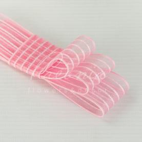 Стрічка флористична з органзи з рожевим рядком ніжно-рожева 2,5 см * 23м