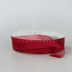Стрічка флористична з органзи зі смугами червона 2,5 см * 32м