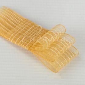 Лента флористическая из органзы с полосами кремовая 2,5см*32м