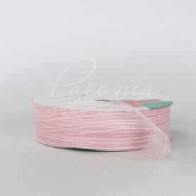 Лента флористическая из органзы с полосами нежно-розовая 2,5см*32м