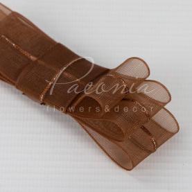 Стрічка флористична з органзи зі смугою коричнева 2,5 см * 32м