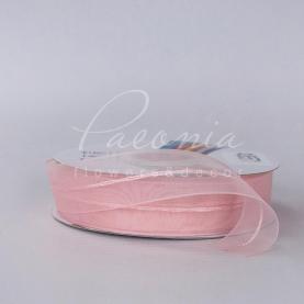 Лента флористическая из органзы с полосой нежно-розовая 2,5см*32м
