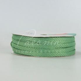 Стрічка флористична плетена зелена 0,6 см * 33м