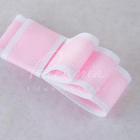Лента хлопковая с белым кантом нежно-розовая 2,5 см*23м