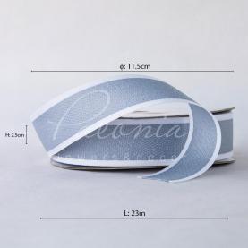 Стрічка бавовняна з білим кантом світло-сіра 2,5 см*23м