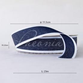 Стрічка бавовняна з білим кантом темно-синя 2,5 см*23м