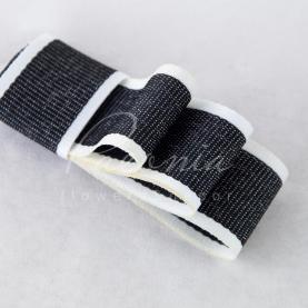 Лента хлопковая с белым кантом черная 2,5 см*23м