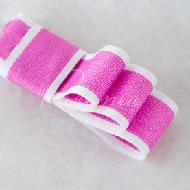 Стрічка бавовняна з білим кантом яскраво-рожева 2,5 см*23м