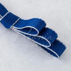 Стрічка бавовняна з кантом синя 1см*46м