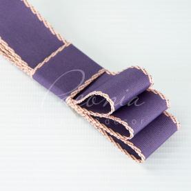 Стрічка бавовняна з кантом фіолетова 2,8см*23м