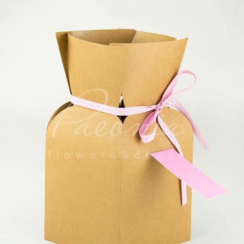 Пакет Ваза б 13*13*26 см розовая