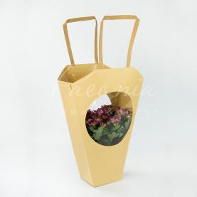 Пакет Флористичний 13*10*43см з прозорим круглым віконцем крафтовий