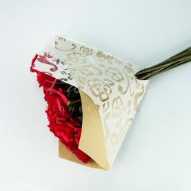 Пакет Флористичний для букета 35см*35см Комбина крафт з білим принтом