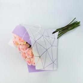 Пакет Флористичний для букета 35см*35см Павутинка білий-лавандовий