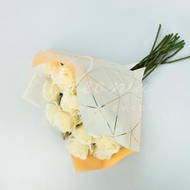 Пакет Флористичний для букета 35см*35см Павутинка білий-персиковий