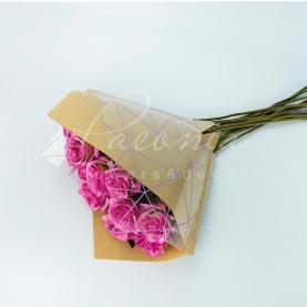 Пакет Флористичний для букета 35см*35см Павутинка крафт-лавандовий