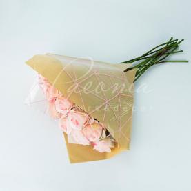 Пакет Флористичний для букета 35см*35см Павутинка крафт-рожевий