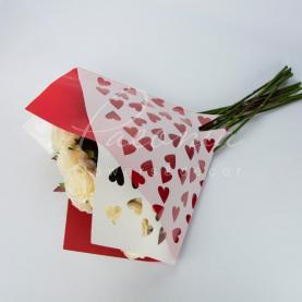 Пакет Флористичний для букета 35см*35см серце червоний-білий