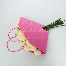 Пакет флористический для букета 35см*35см сумочка с ручками розовый