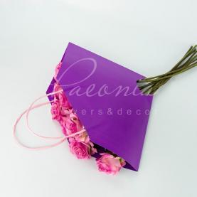 Пакет Флористичний для букета 35см*35см сумочка з ручками бузковий