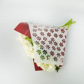 Пакет Флористичний для букета 35см*35см квіти білий-баклажан