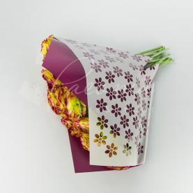 Пакет флористический для букета 35см*35см Цветы белый+бордо